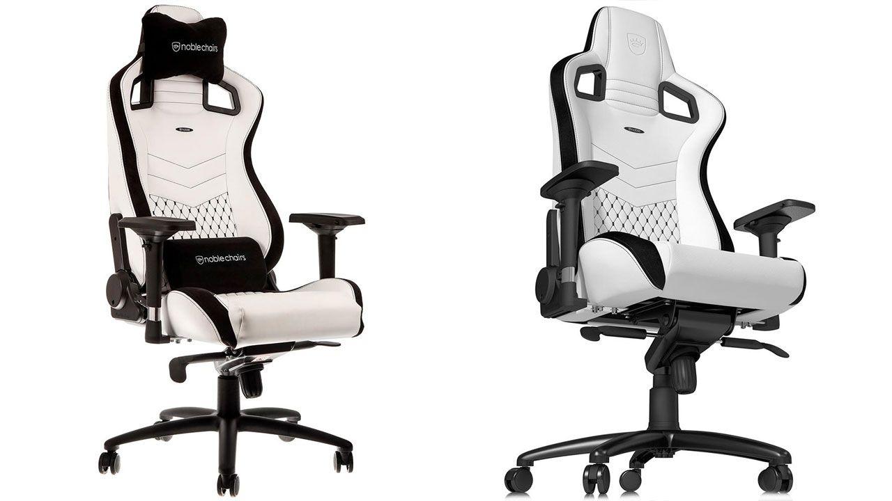 Cadeira Gamer branca Noblechairs Epic White com detalhes em preto no fundo branco