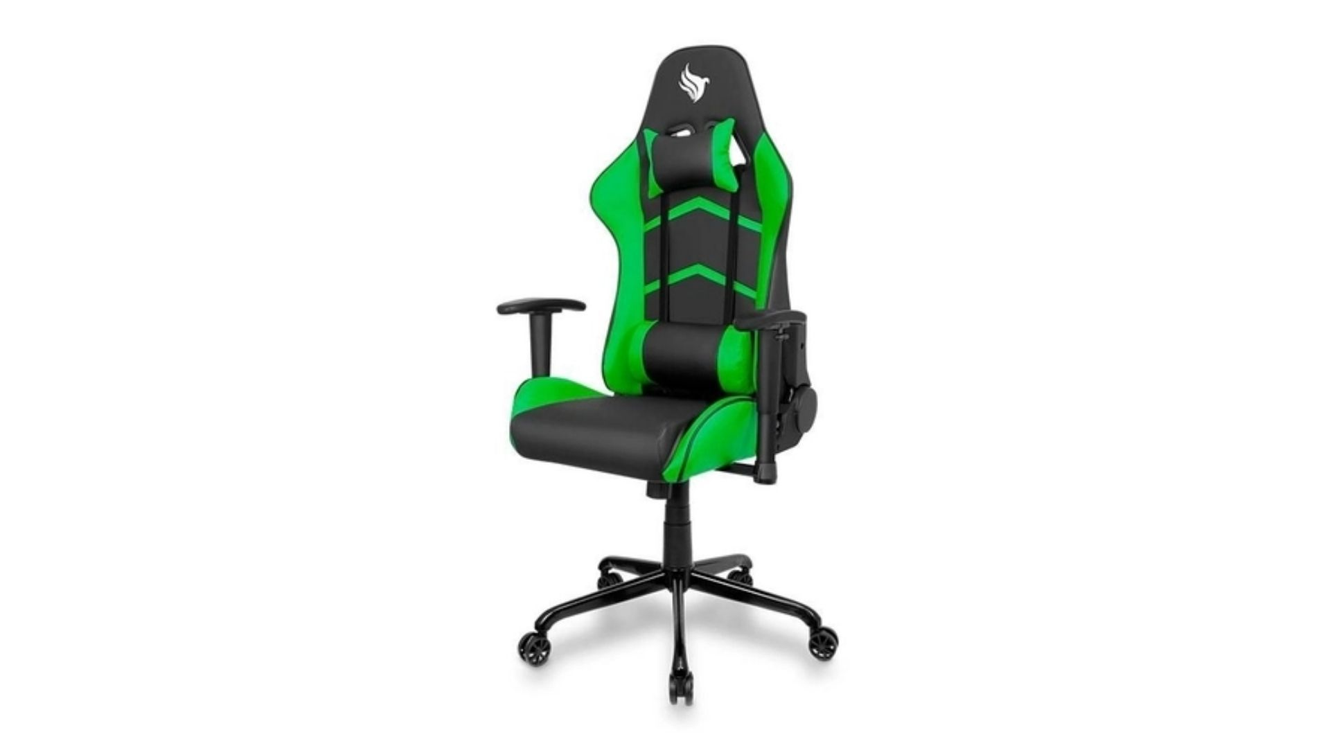 Cadeira Gamer Pichau Gaming Donek preta e verde em fundo branco