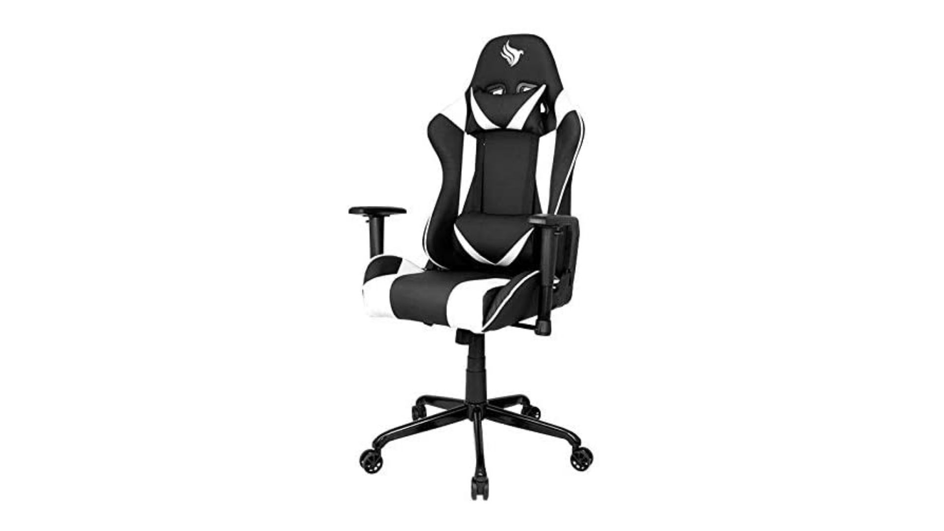 Cadeira Gamer Pichau Gaming Hask preta com detalhes brancos