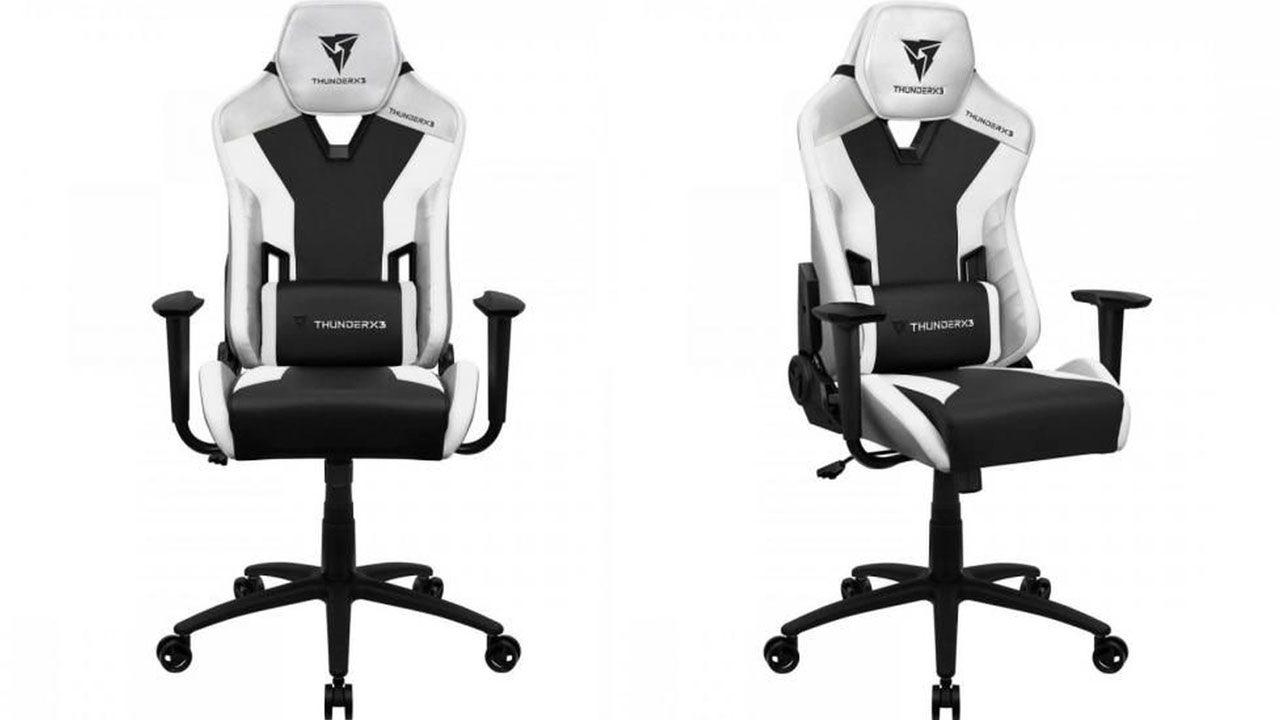Cadeira Gamer branca TC3 All White ThunderX3 com detalhes pretos vista de frente e de lado