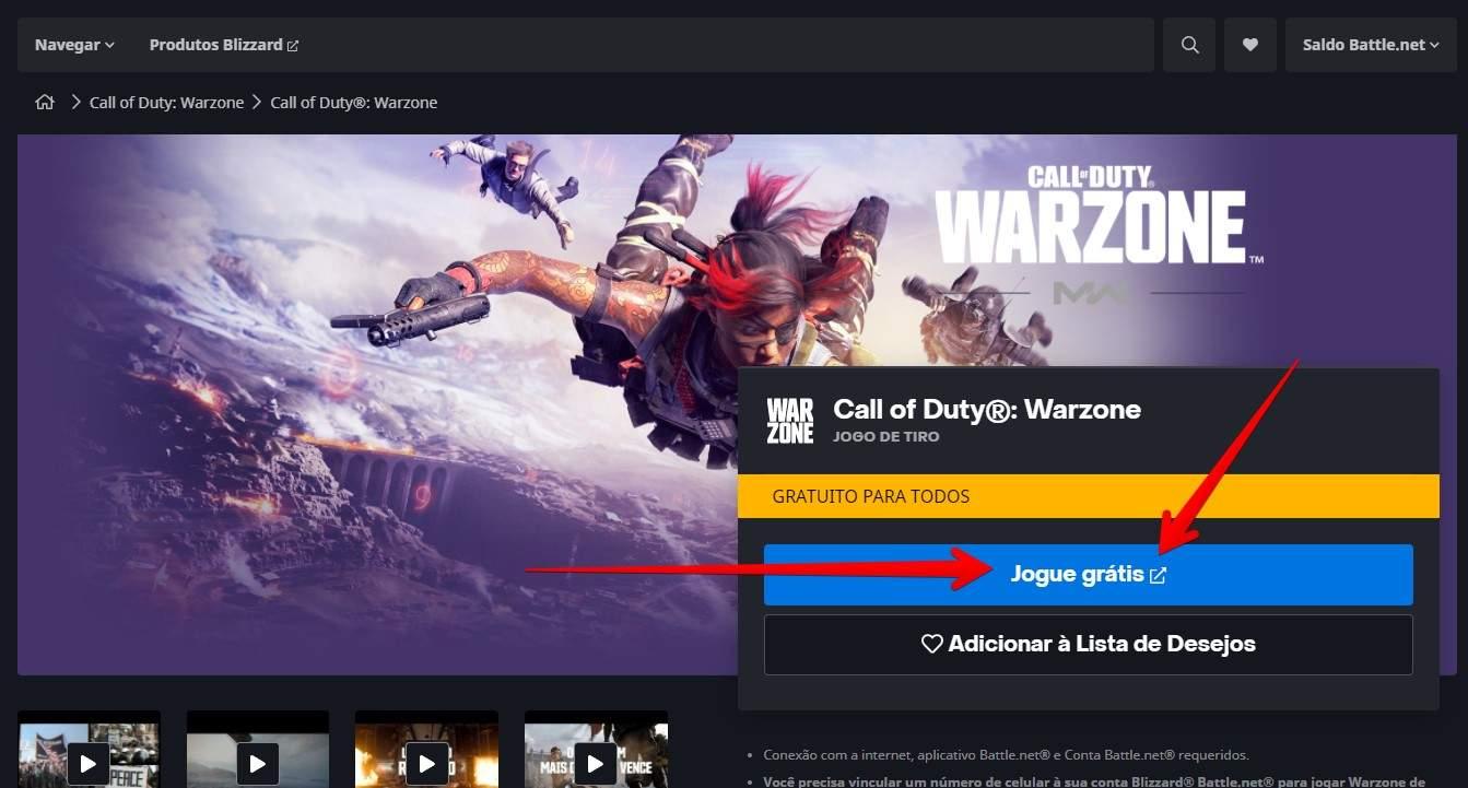 """Site do Call of Duty Warzone com setas apontando para o botão """"Jogue grátis"""""""