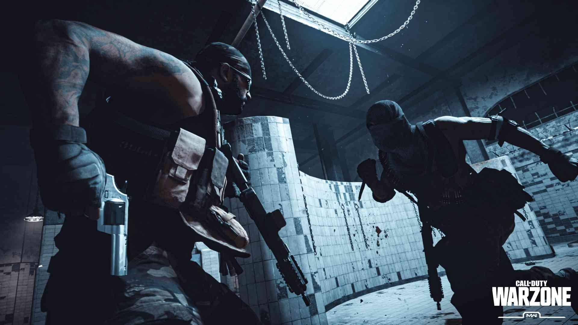 Ilustração promocional de Call of Duty Warzone mostrando dois soldados duelando na área chamada Gulag