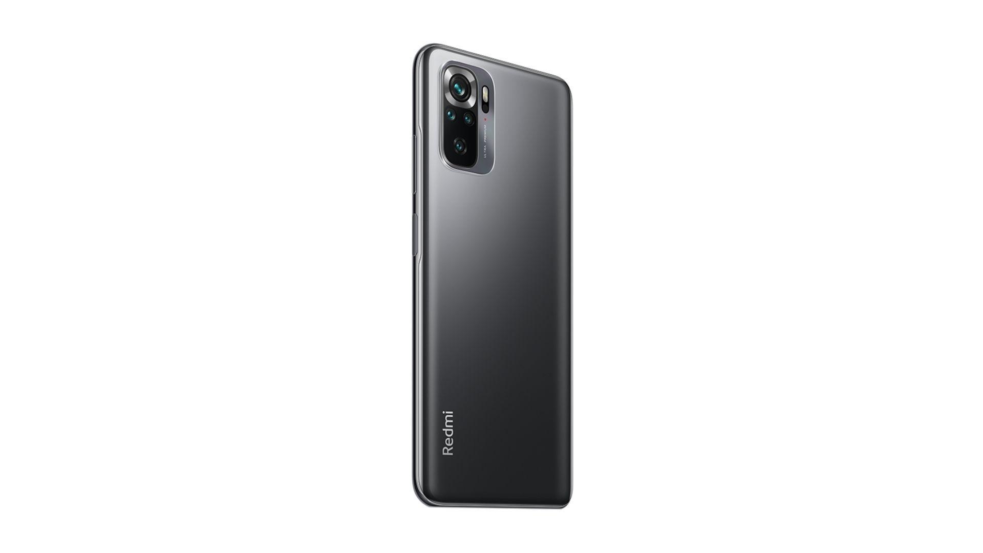 Celular preto Redmi Note 10S com fundo branco