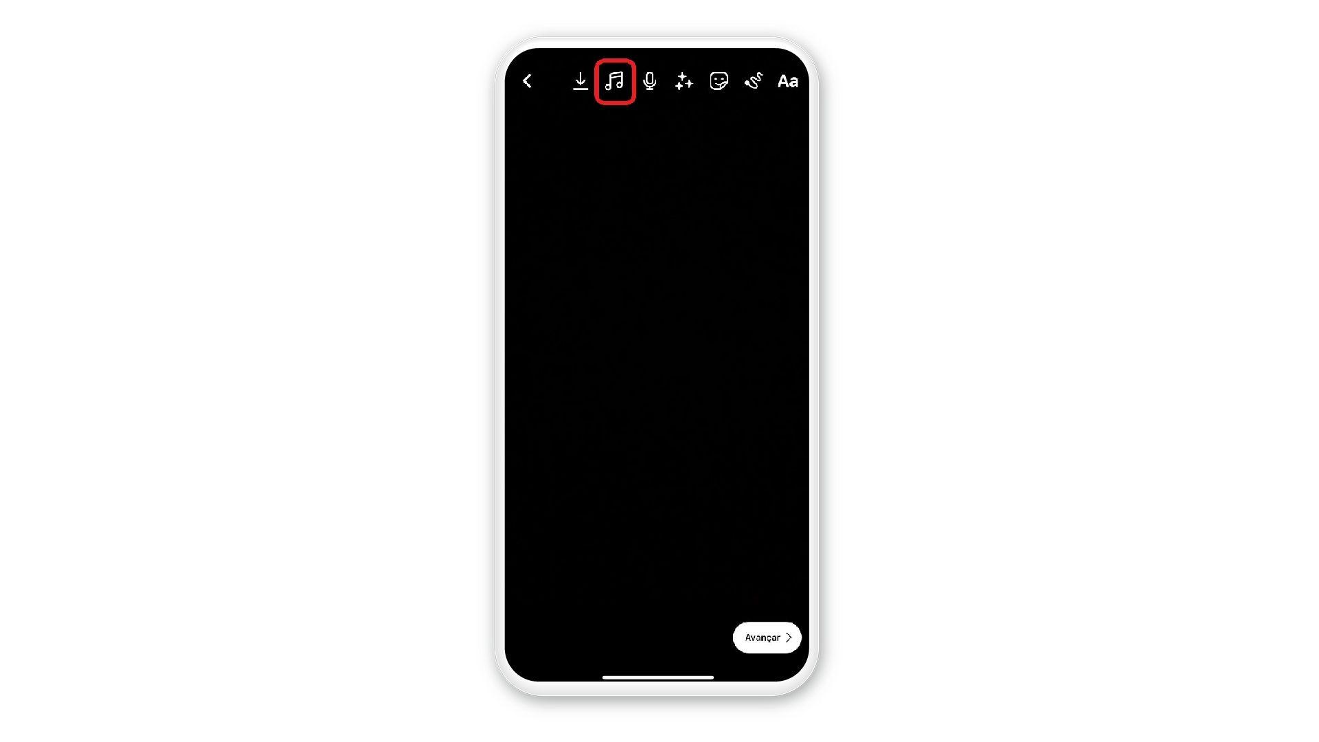 """Print mostra como selecionar opção de """"música"""" em tela de celular em fundo branco"""