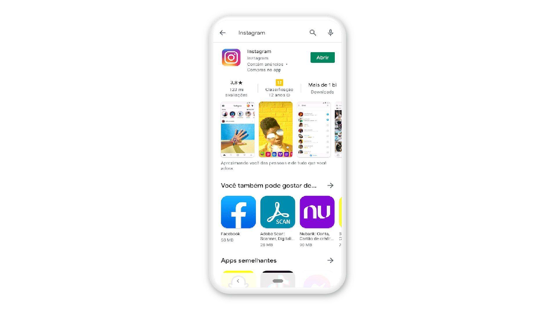 Tela do Android com pesquisa na Play Store por Instagram.