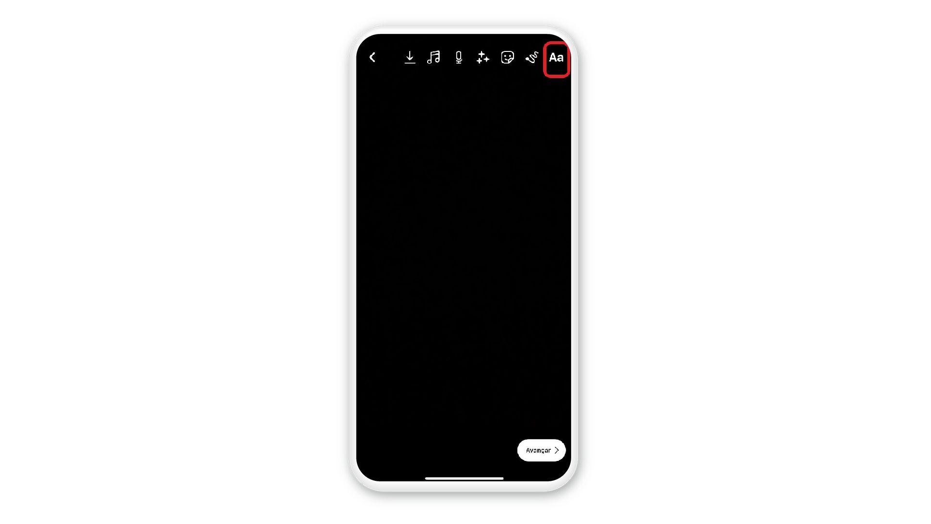 Print mostra opção de adicionar texto, no canto superior direito, em uma tela de celular com fundo branco