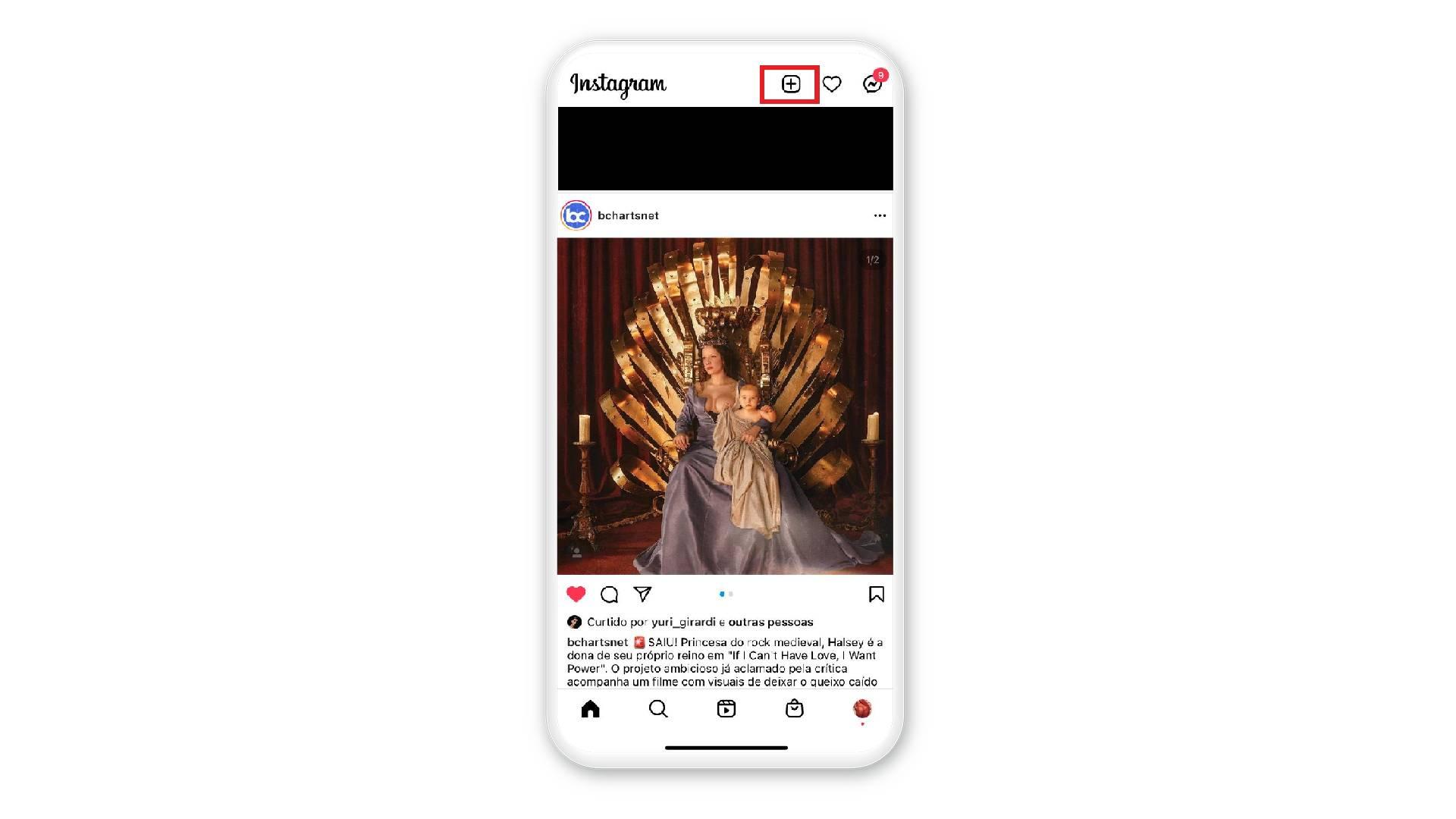 """Print mostra como clicar no """"+"""", no canto superior direito em uma tela de celular no fundo branco"""