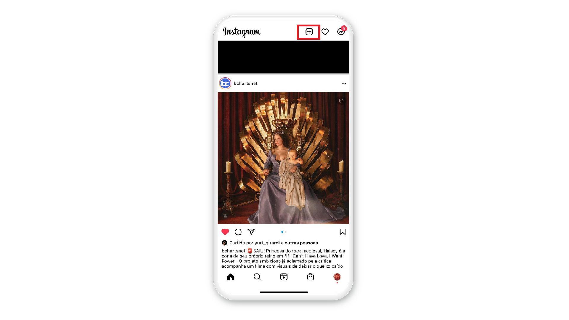 """Montagem de um celular mostra na tela como clicar no """"+"""", no canto superior direito, para fazer reels"""