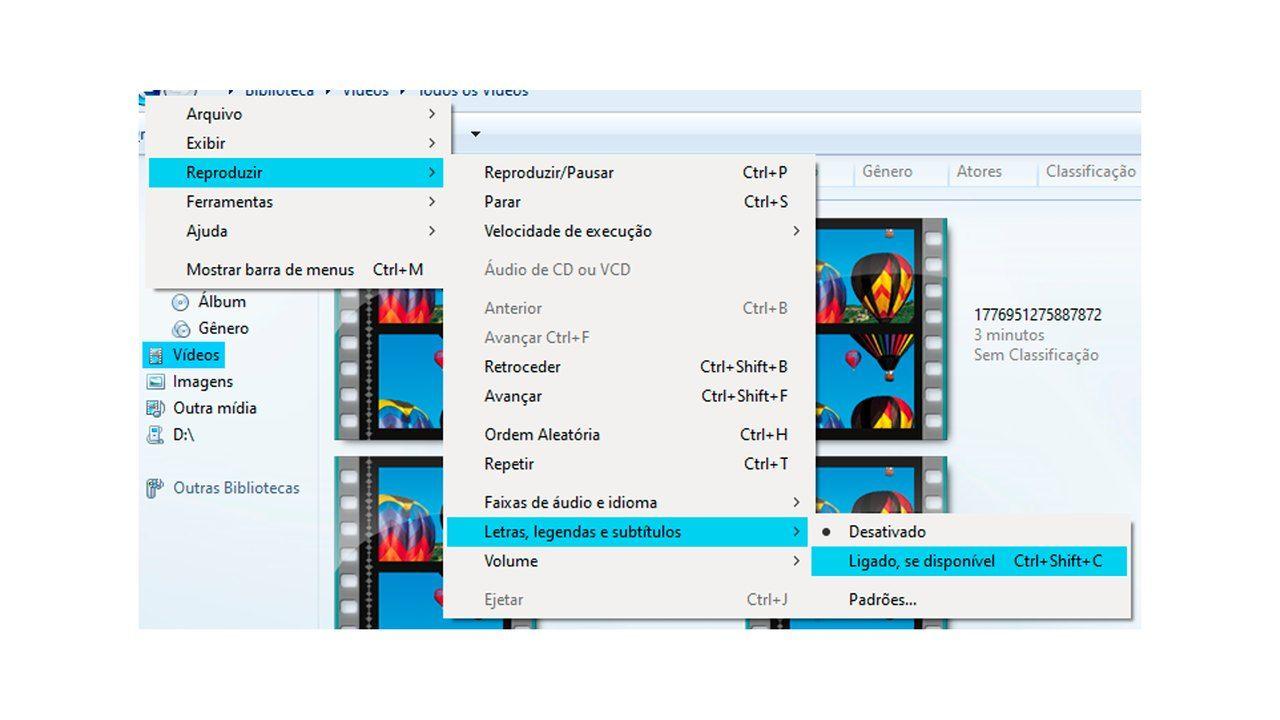 Print do Windows Media Player, ilustrando o passo a passo para ativar as legendas inclusas no arquivo.