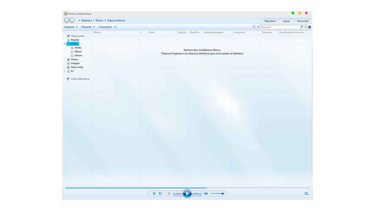Print com a interface principal de uso do Windows Media Player
