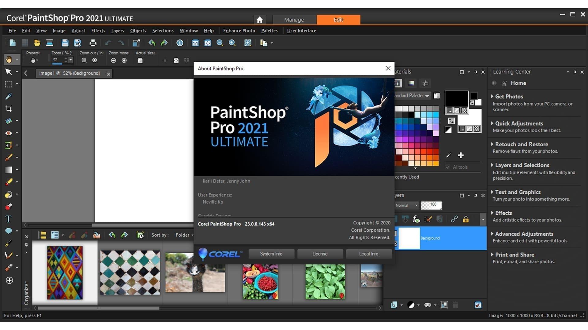 Captura de tela do editor de fotos para PC Corel PaintShop