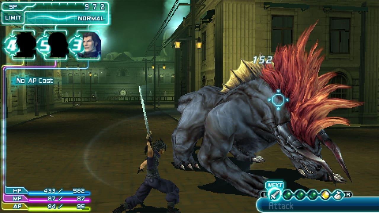 Personagem de Crisis Core: Final Fantasy VII golpeando monstro