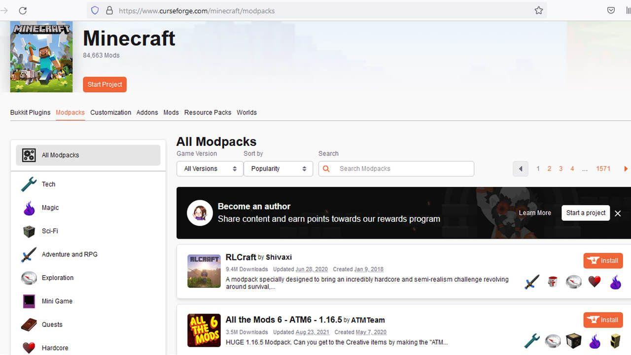 Print do site Curse Forge para baixar mod de Minecraft