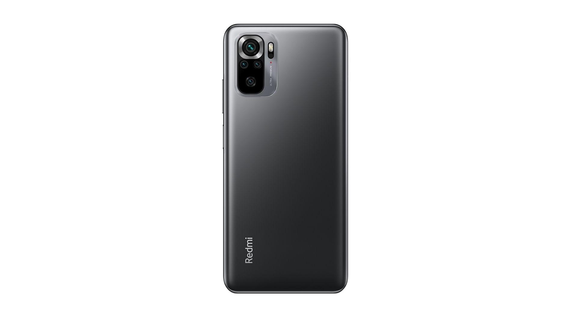 Celular preto Redmi Note 10S com destaque na traseira em fundo branco