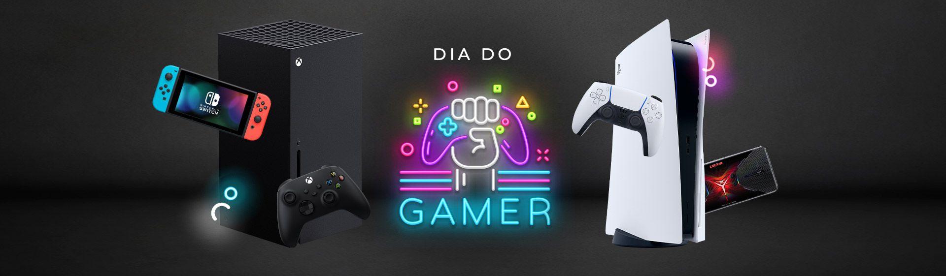 Ilustração de fundo preto com centro em neon destacando o Dia do Gamer, com consoles Nintendo, Xbox, PlayStation e celular e