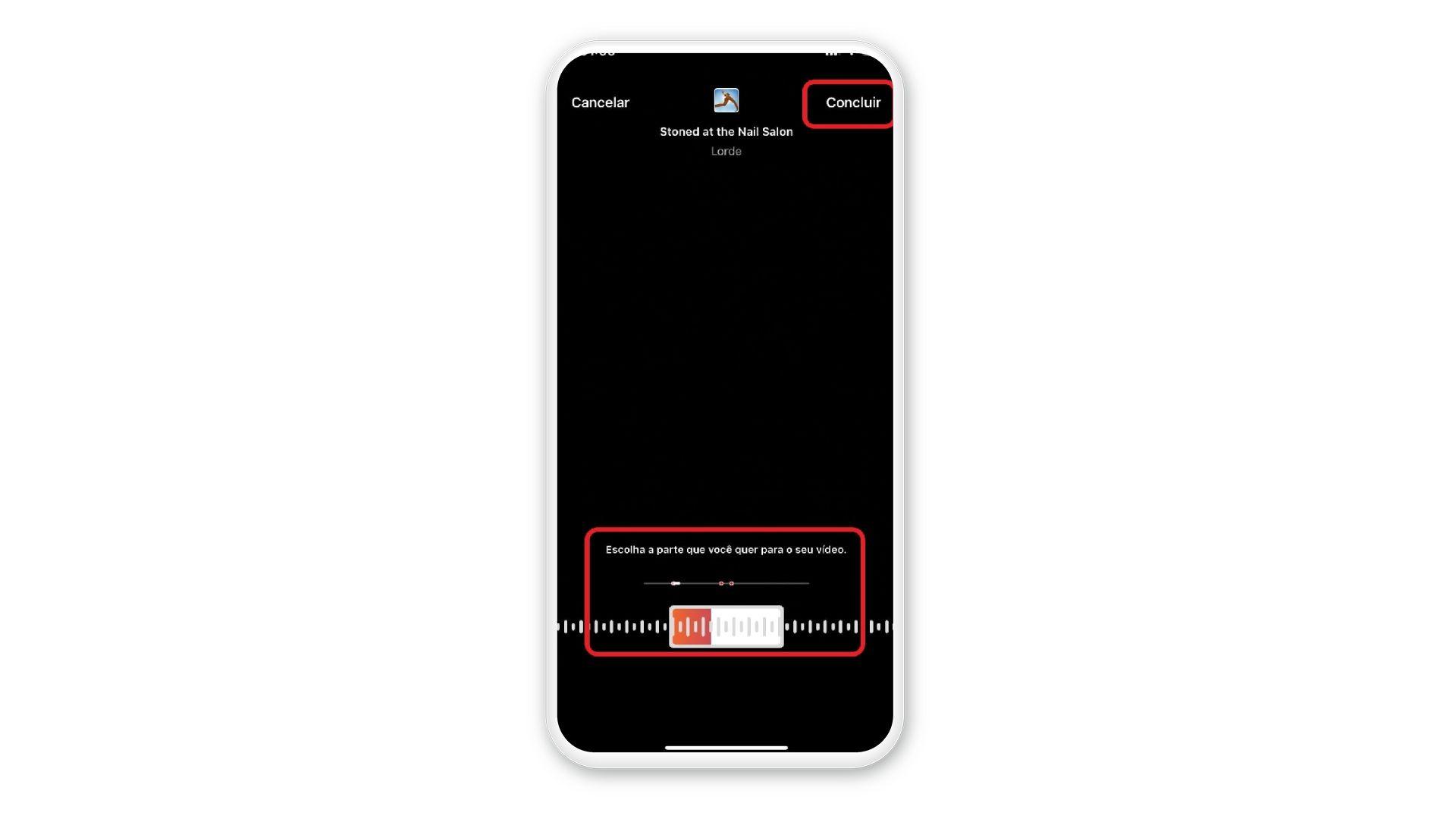 Print mostra opção de selecionar parte específica da música em uma tela de celular com fundo branco