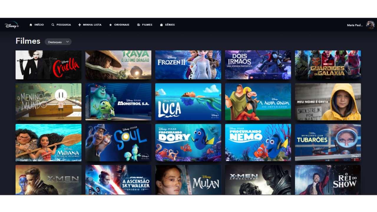 Captura de tela do catálogo de filmes do Disney Plus.