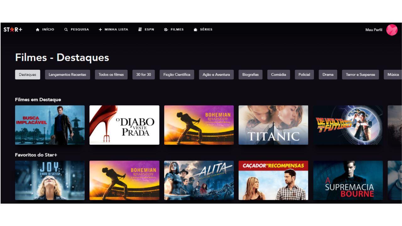 Captura de tela do catálogo do Star Plus.