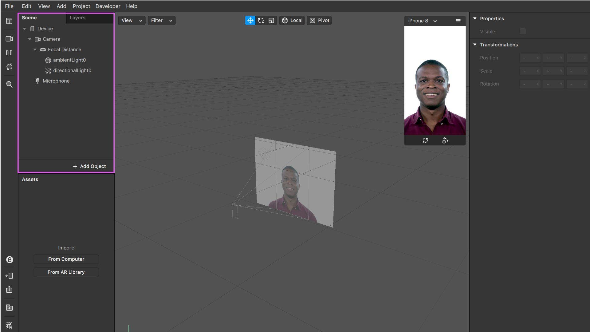Tela de exemplo do software Spark AR Studio de criação de filtro do Instagram