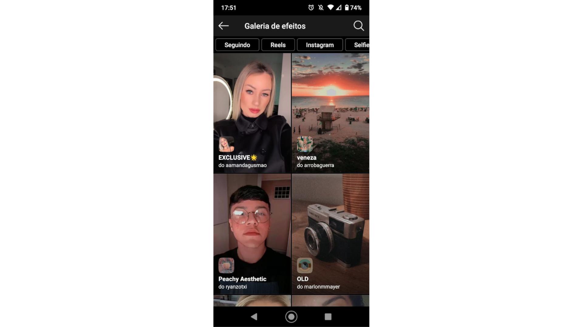 Reprodução de tela de celular do aplicativo Instagram na página de galeria de efeitos e filtros de Instagram