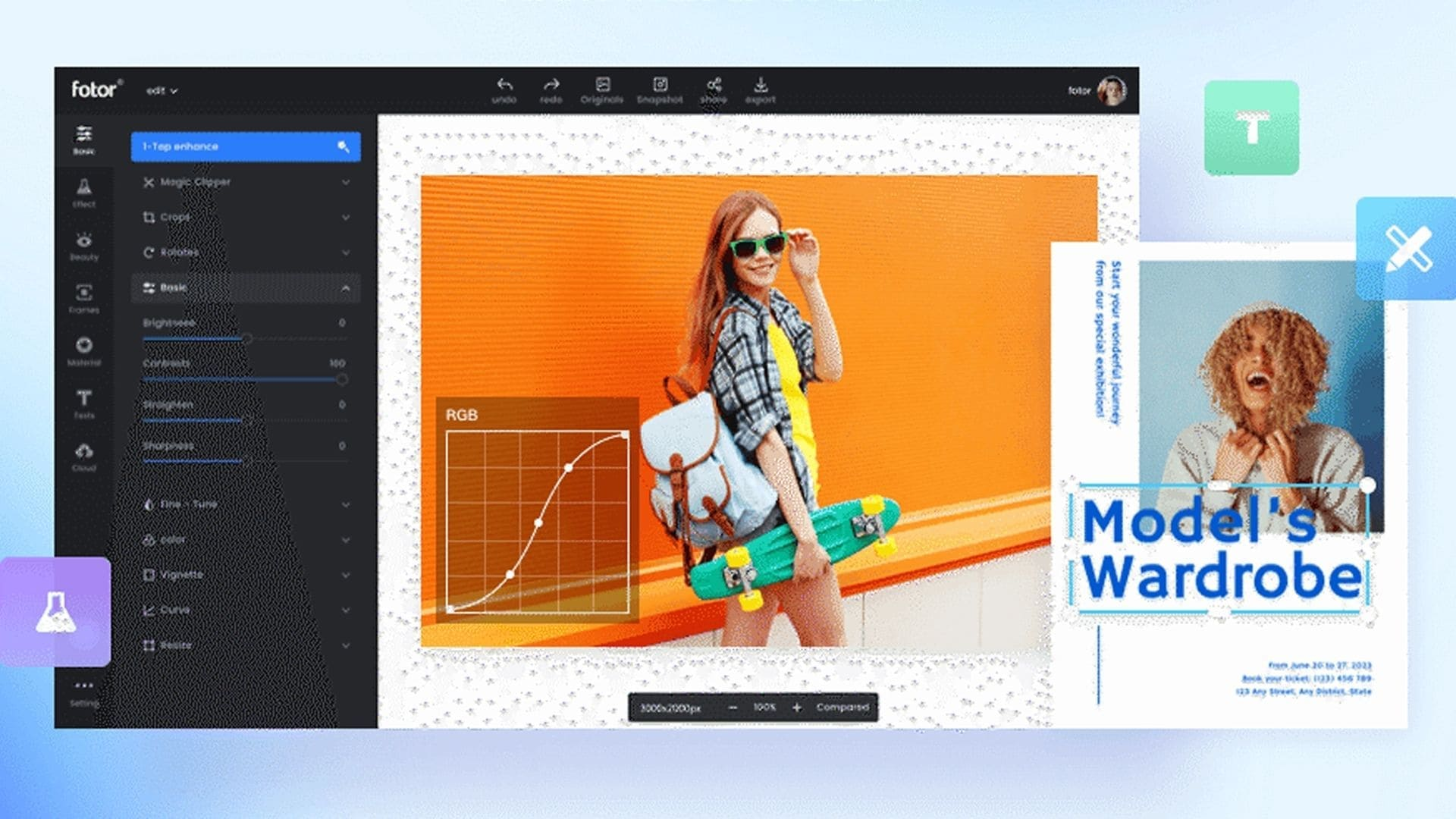 Tela inicial do editor de imagens para PC Fotor