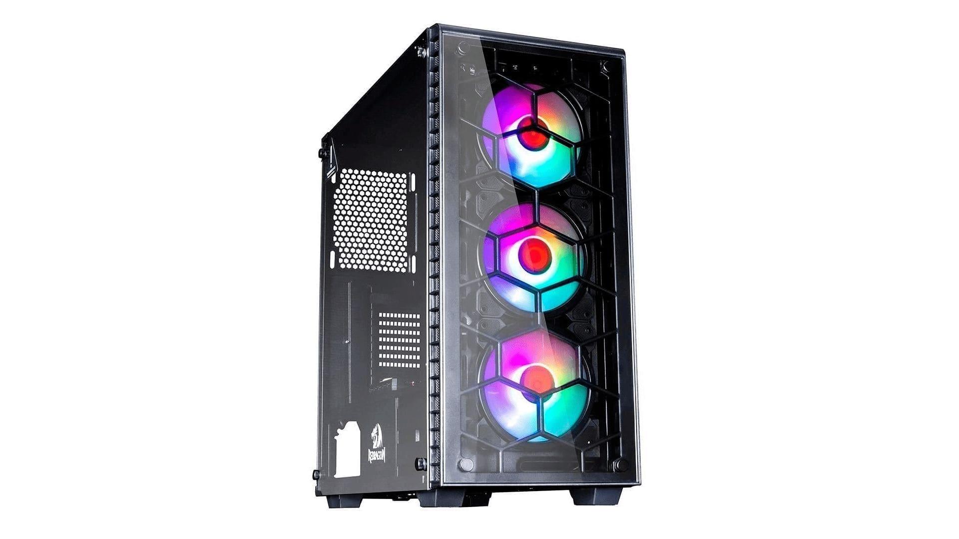 Gabinete Redragon Diamond Storm Pro preto com detalhe RGB na parte frontal em fundo branco