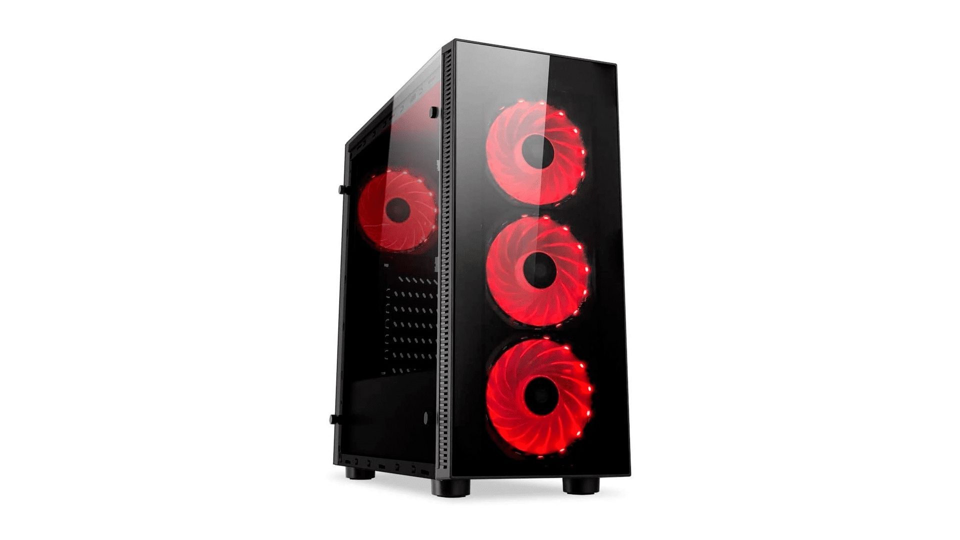 Gabinete Redragon Sideswipe preto com detalhes em vermelho no fundo branco