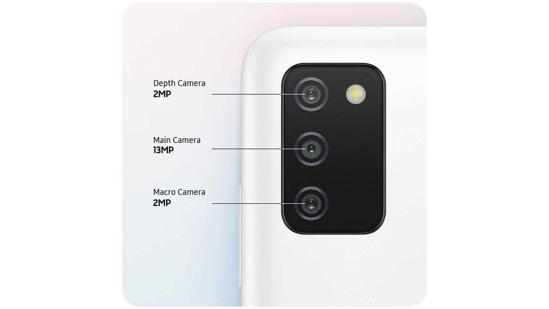 Imagem mostra parte traseira do A03s e traz infográfico com a resolução de cada câmera