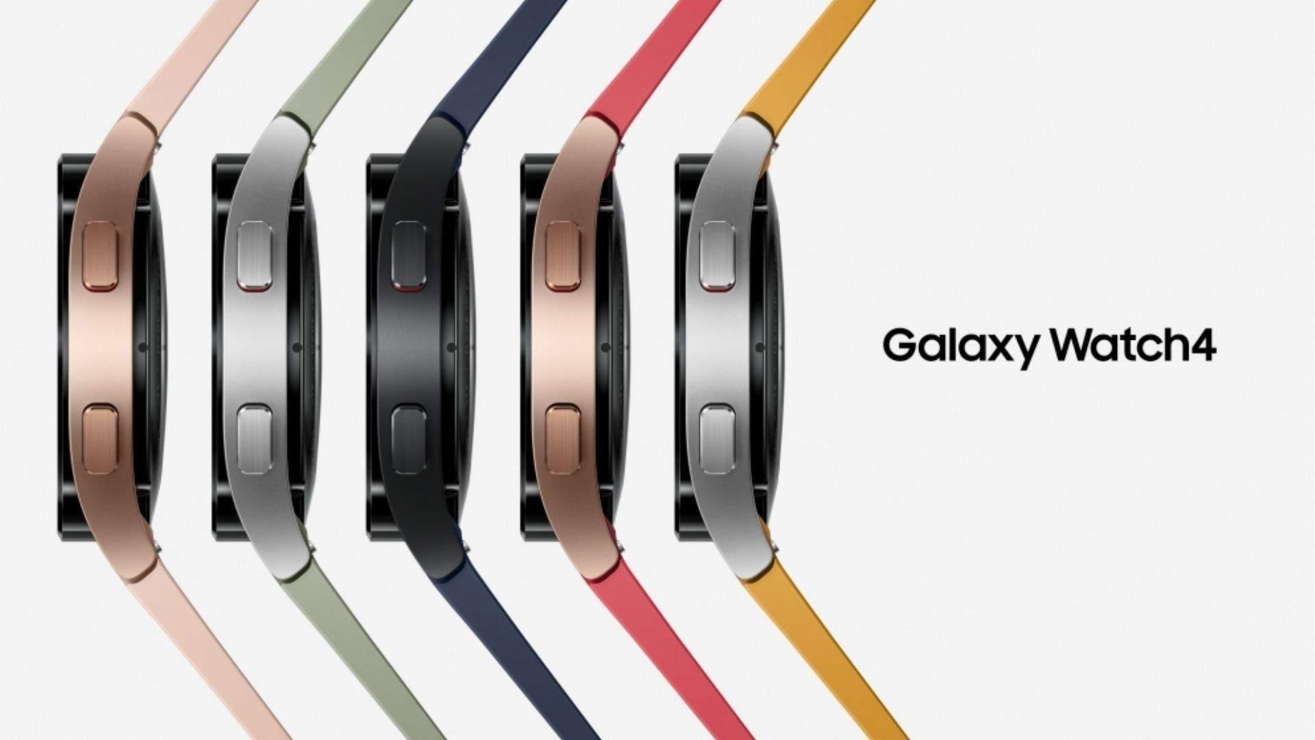 Cinco modelos de Galaxy Watch 4 enfileirados em um fundo branco