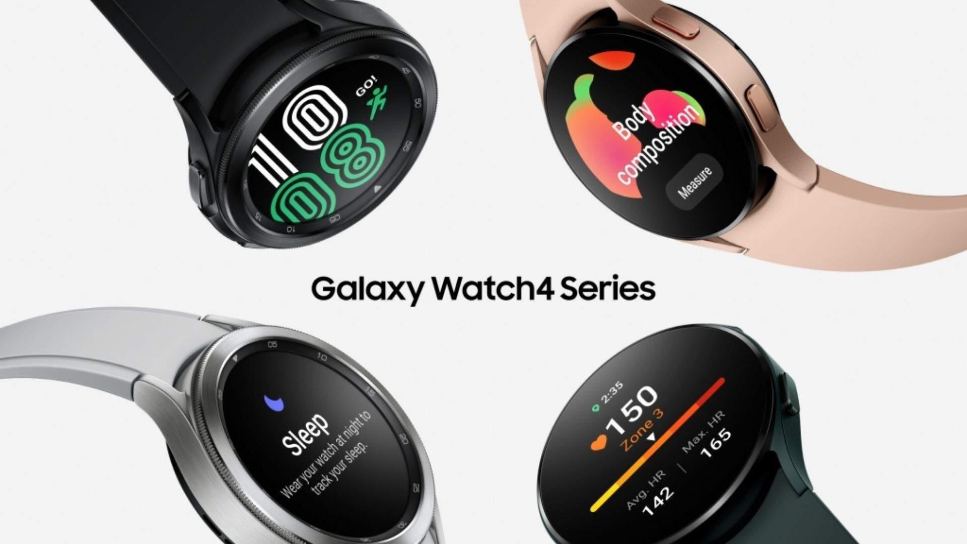 Quatro modelos de Galaxy Watch 4 em um fundo branco