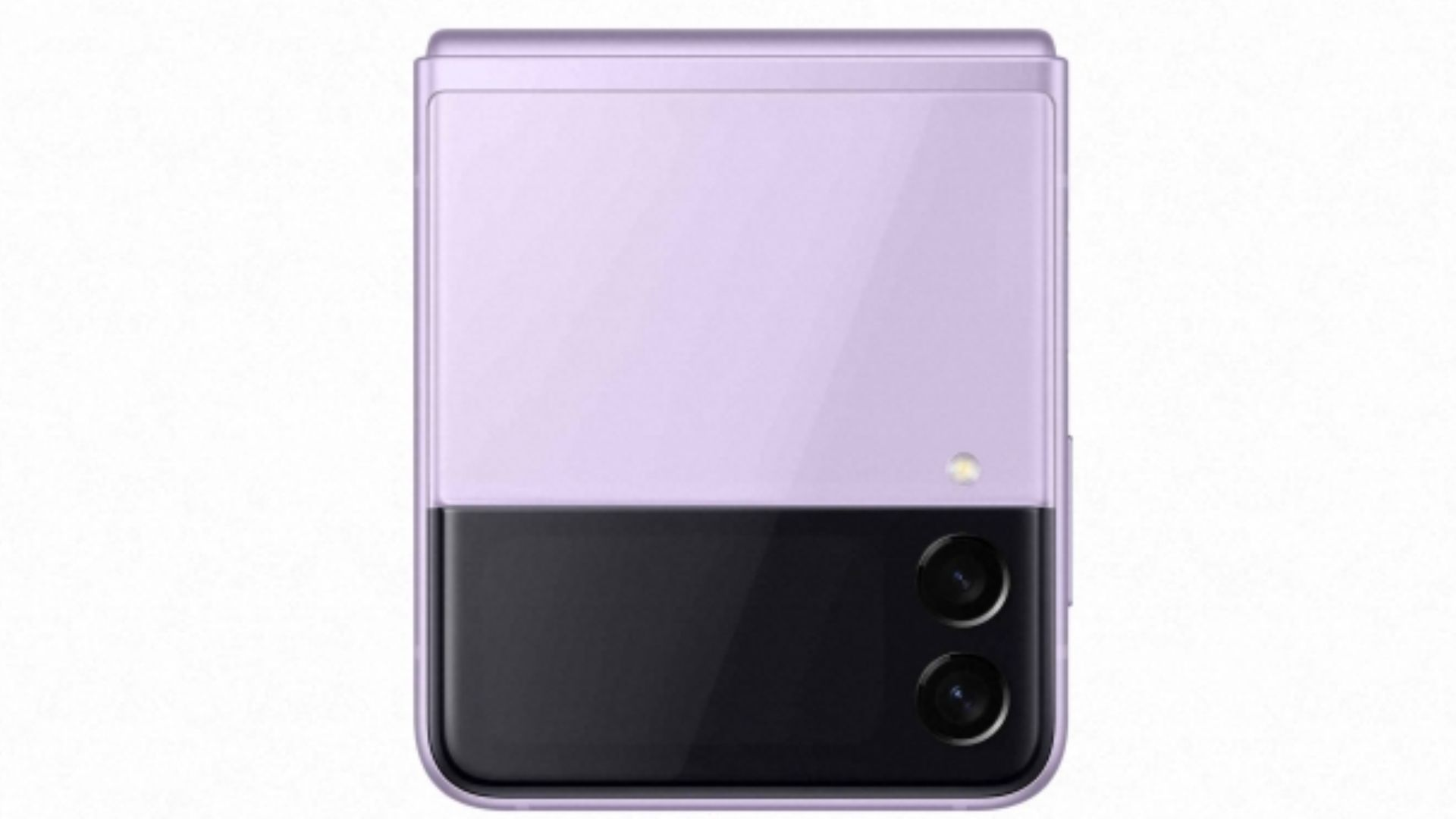 Celular Galaxy Z Flip 3 na cor violeta em fundo branco
