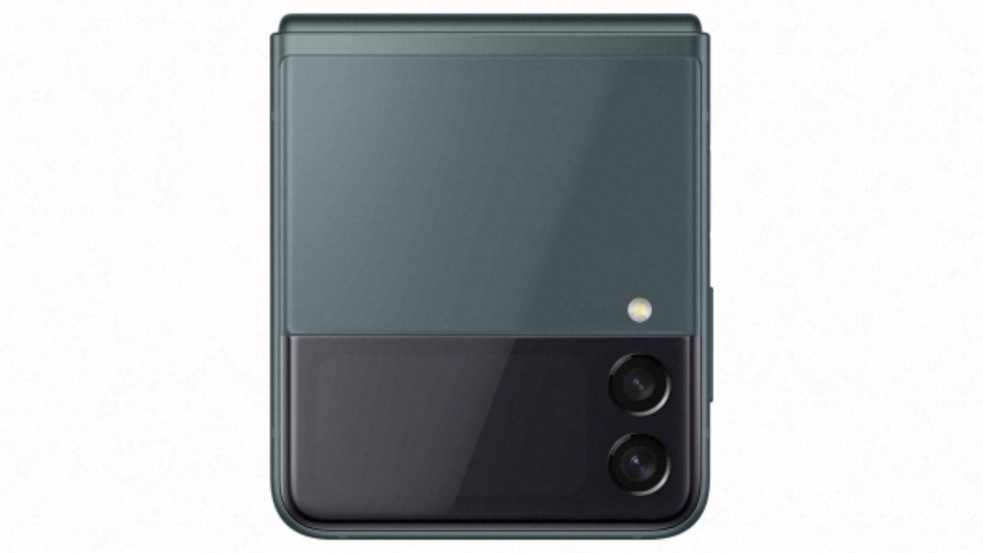 Celular Galaxy Z Flip 3 na cor verde em fundo branco
