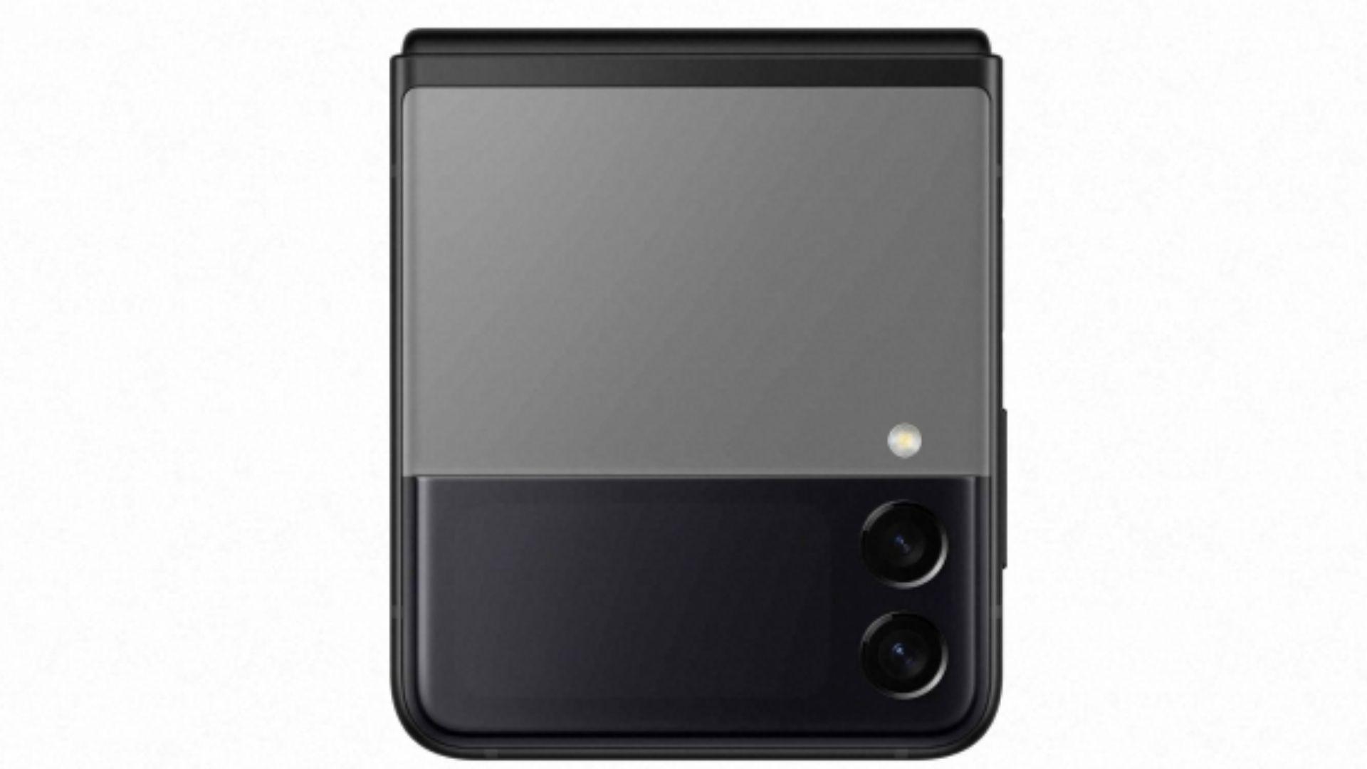 Celular Galaxy Z Flip 3 na cor preta em fundo branco