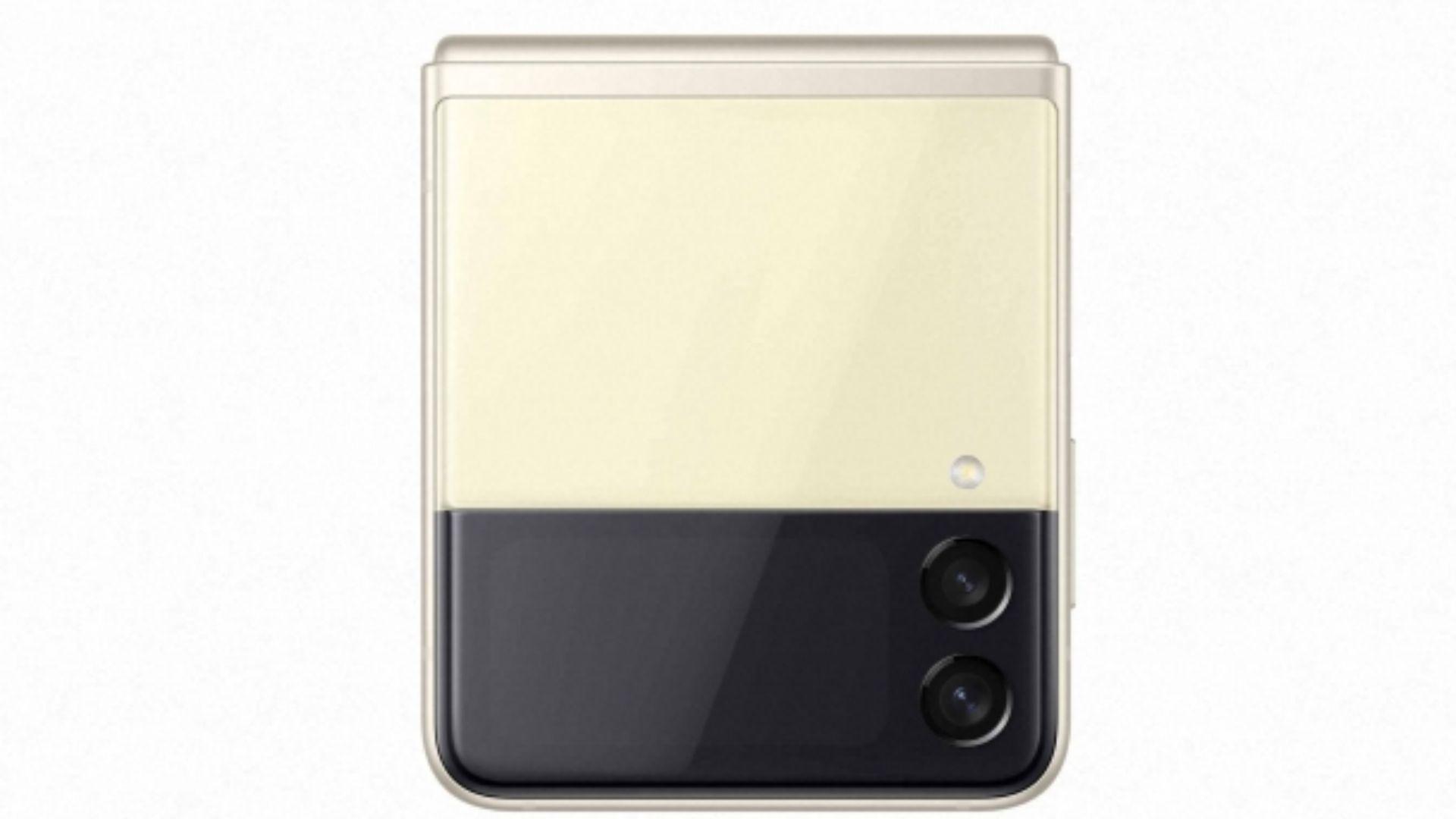 Celular Galaxy Z Flip 3 na cor creme em fundo branco