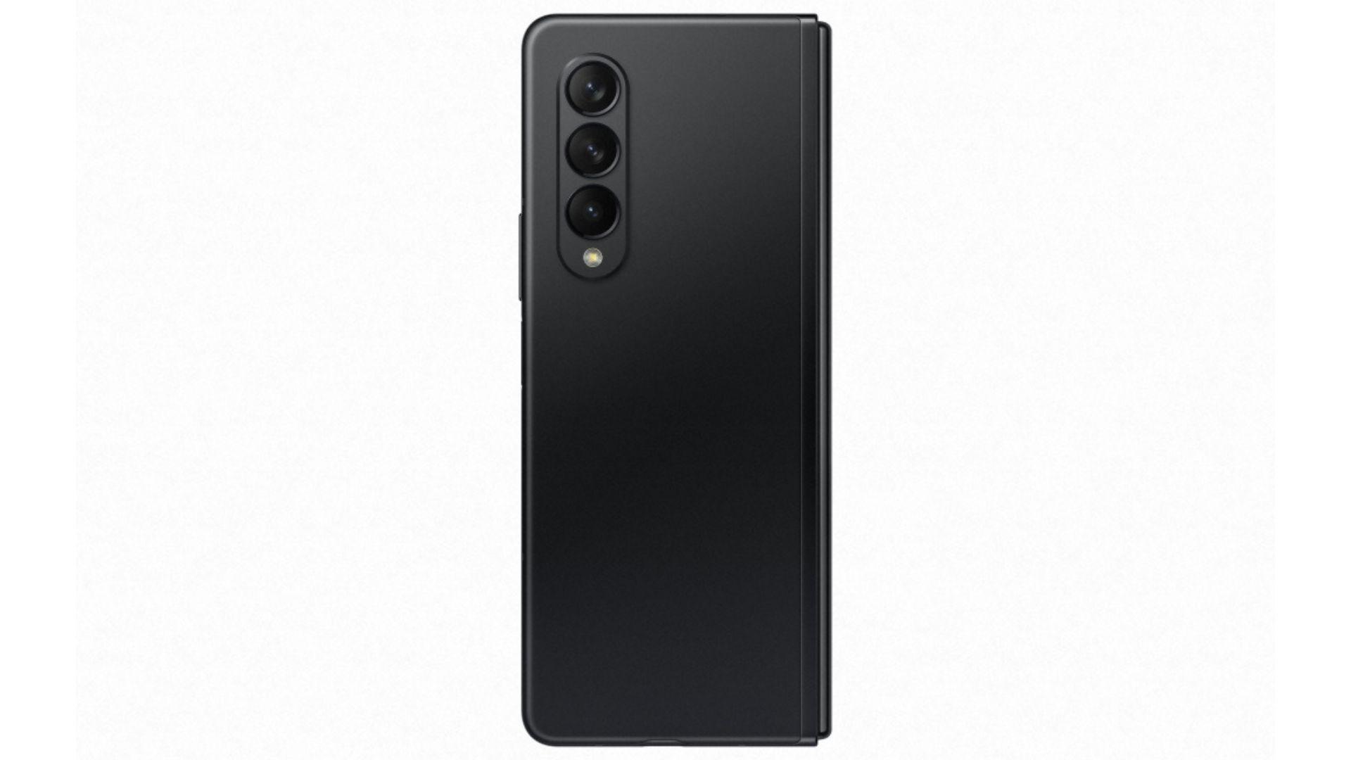 Galaxy Z Fold 3 na versão preta em fundo branco
