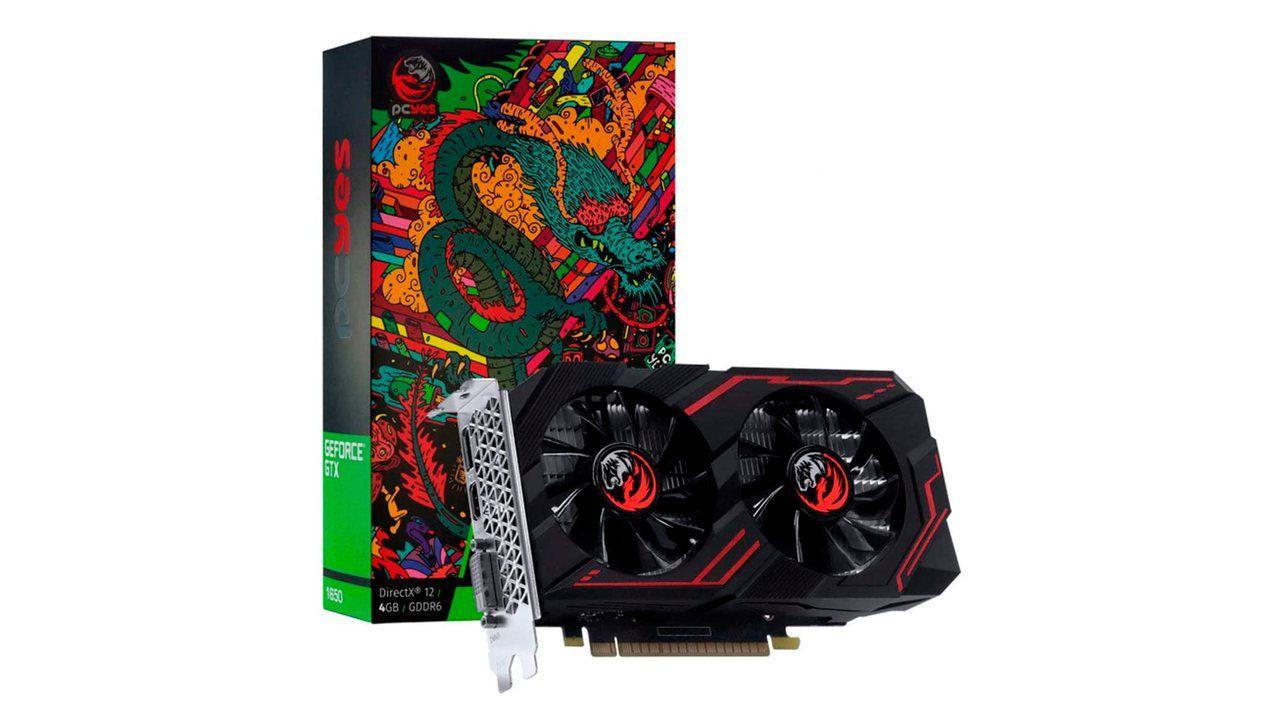 Placa de vídeo 4GB GeForce GTX 1650 no fundo branco