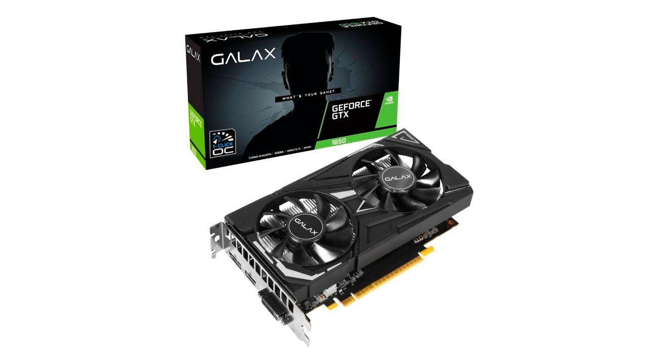 Placa de vídeo 4GB GeForce GTX 1650 Super no fundo branco