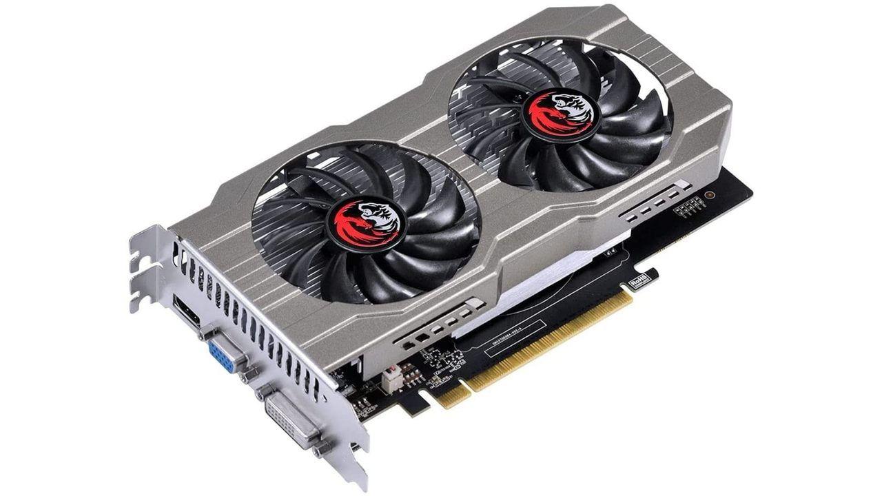 Placa de vídeo barata GeForce GTX 750 Ti cinza no fundo branco