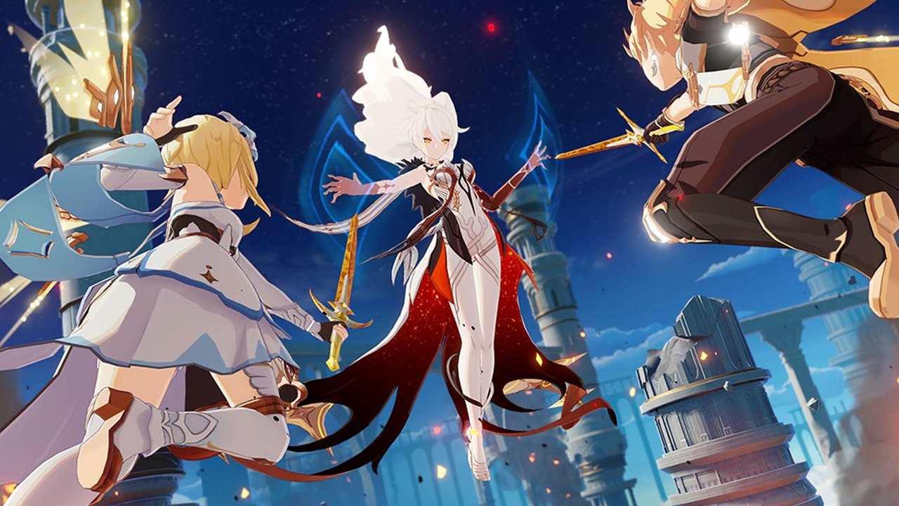 3 personagens do Genshin Impact voando espadas na mão.