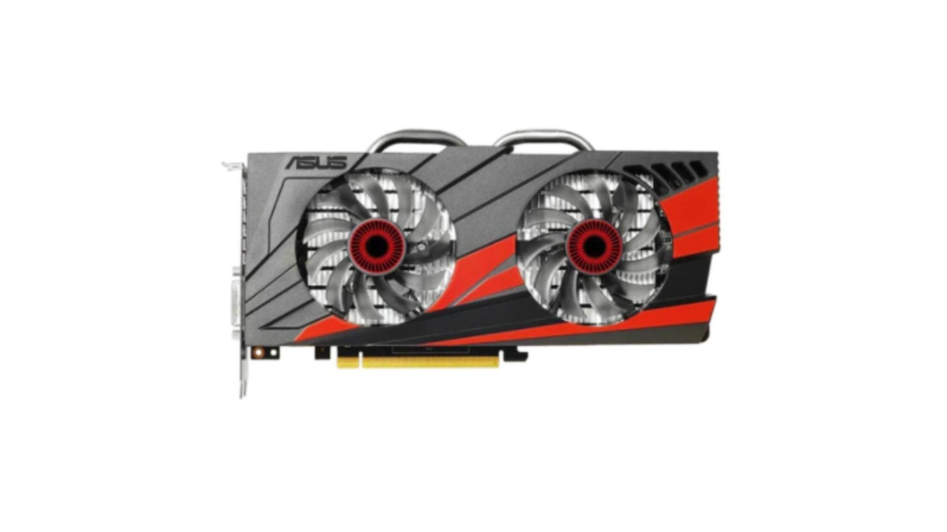 Placa de vídeo 2GB GTX 960 cinza e preta no fundo branco