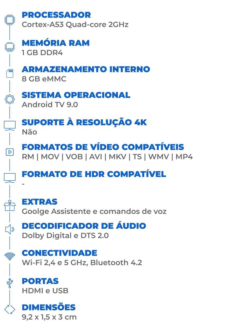 Ficha técnica do Mi TV Stick