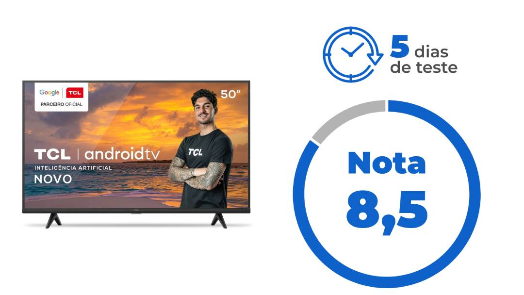 """Imagem da TV TCL P615. Ao lado, o texto: """"5 dias de teste"""" e """"Nota 8,5"""""""