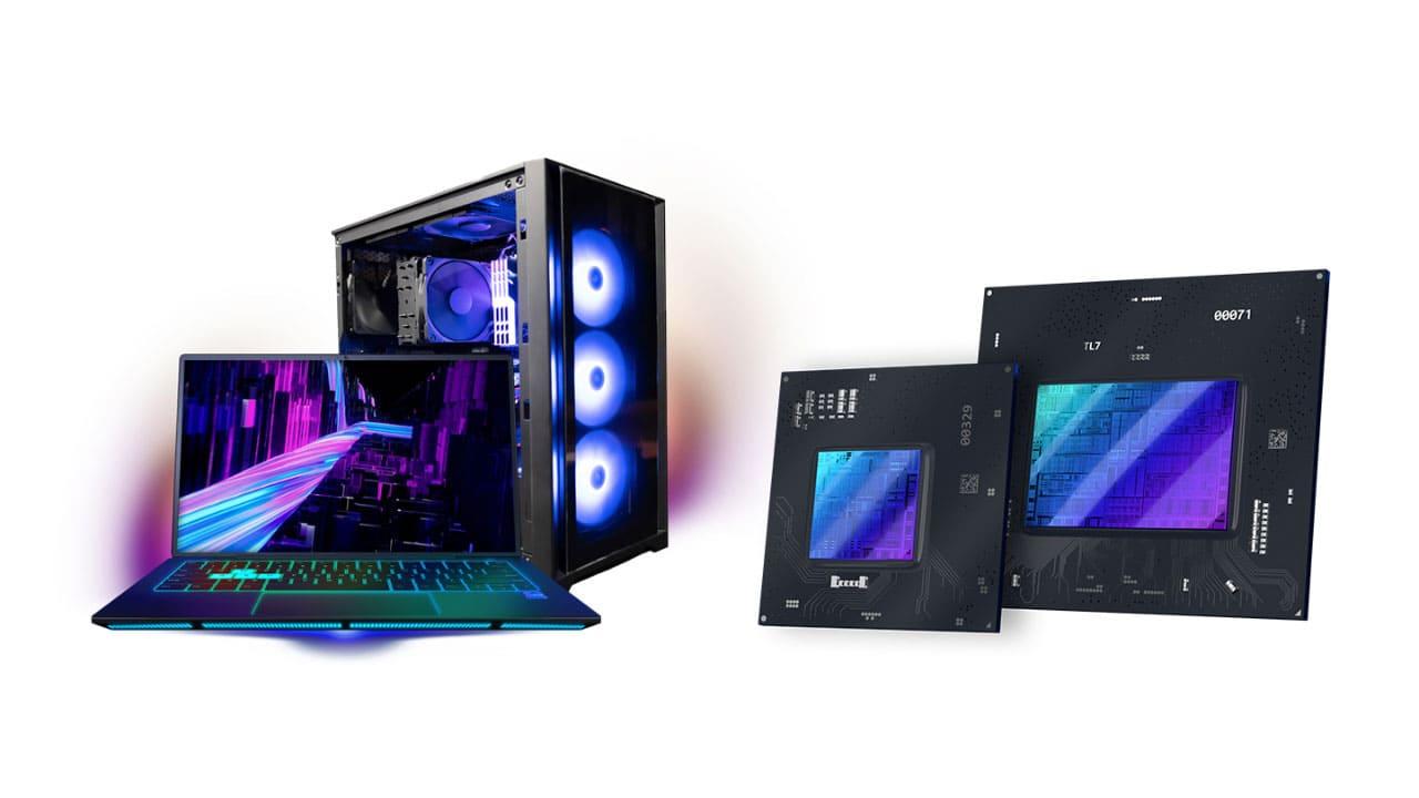 Computador, CPU e placas de vídeo da Intel no fundo branco