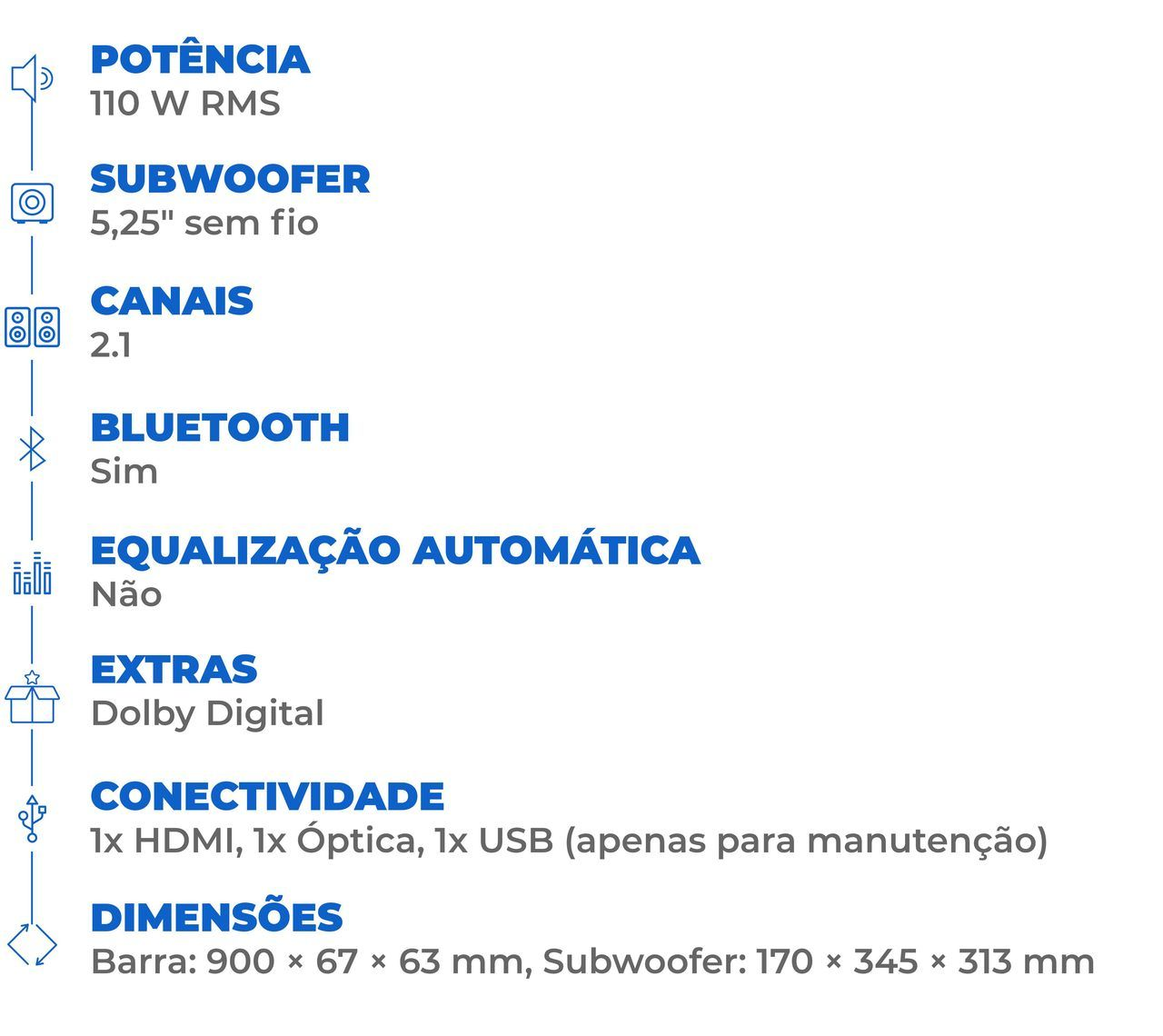 Ficha técnica da soundbar JBL SB160