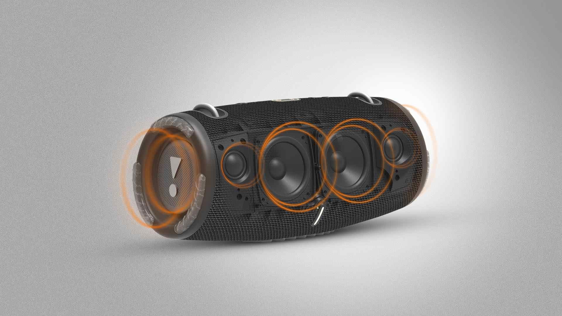 Imagem mostra JBL Xtreme 3 com foco nos woofers