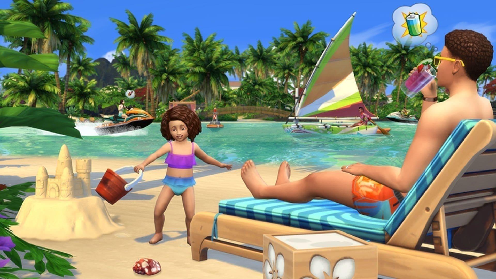 Criança brinca com castelo de areia no The Sims 4 enquanto adulto assiste