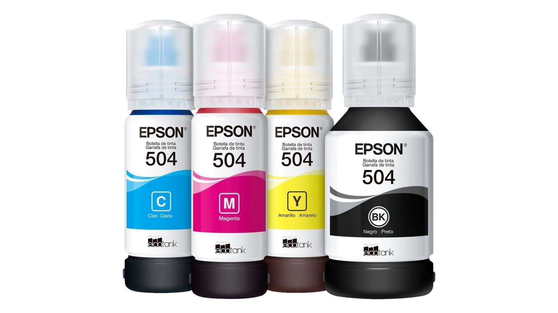 Quatro garrafas de tinta para impressora epson: preta, azul, magenta e amarelo