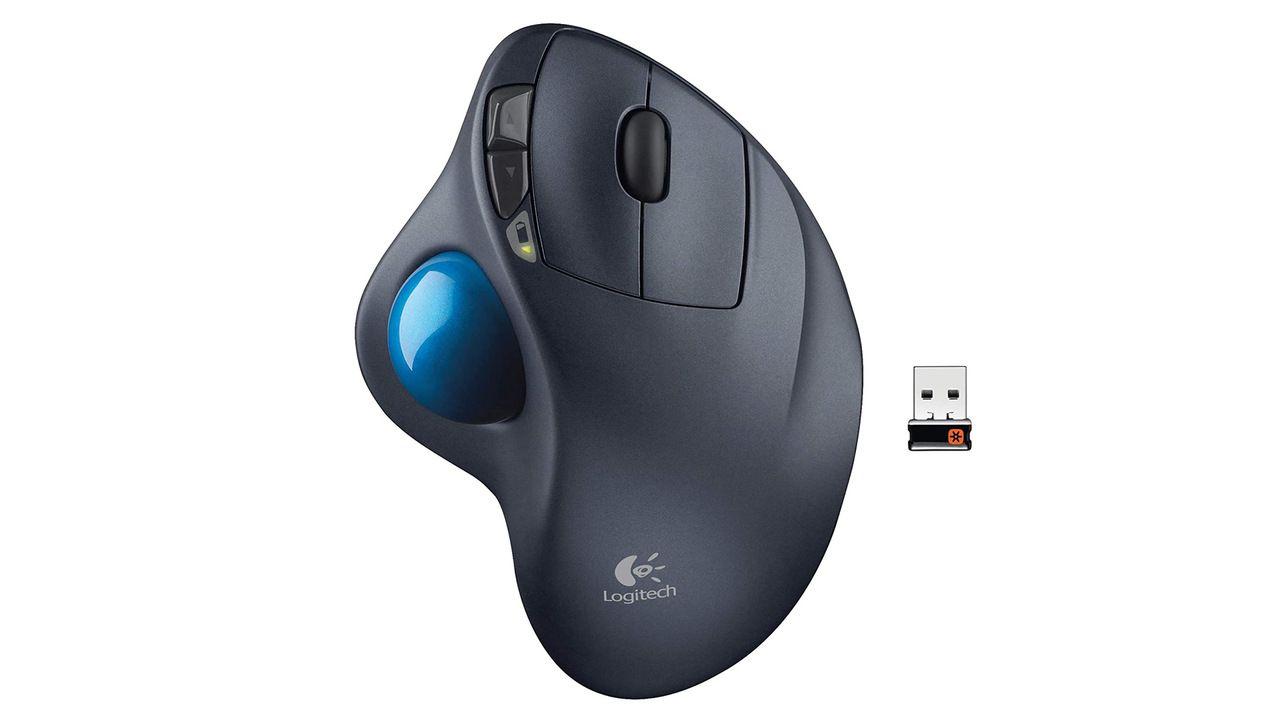 Mouse ergonômico Logitech sem fio cinza com trackball azul