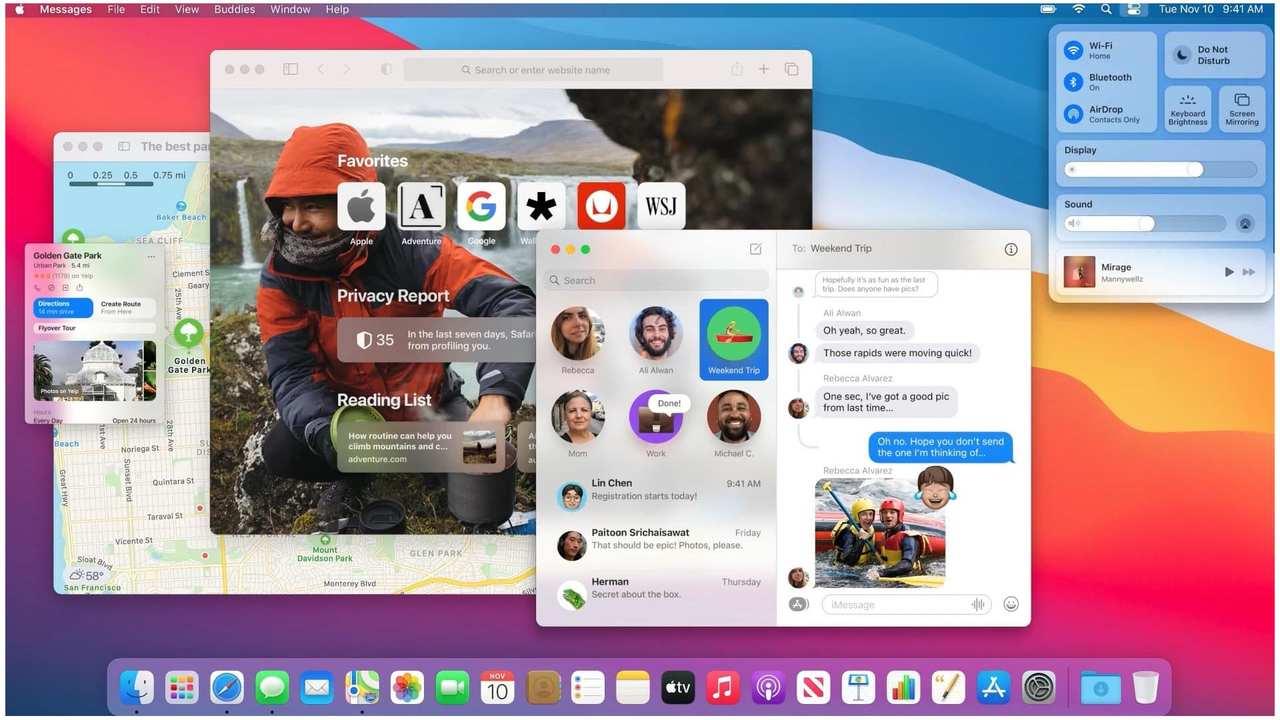 Tela inicial do Mac M1 com macOS BigSur