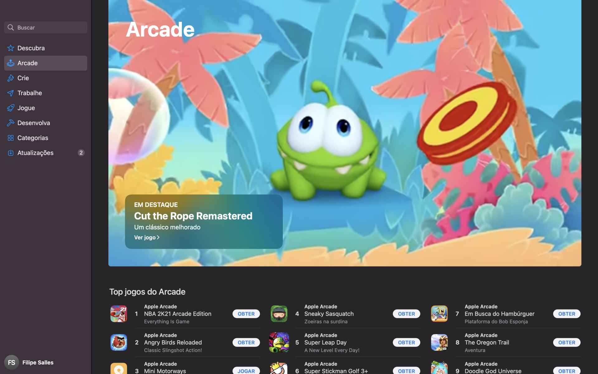 Captura de tela da página inicial do serviço Apple Arcade